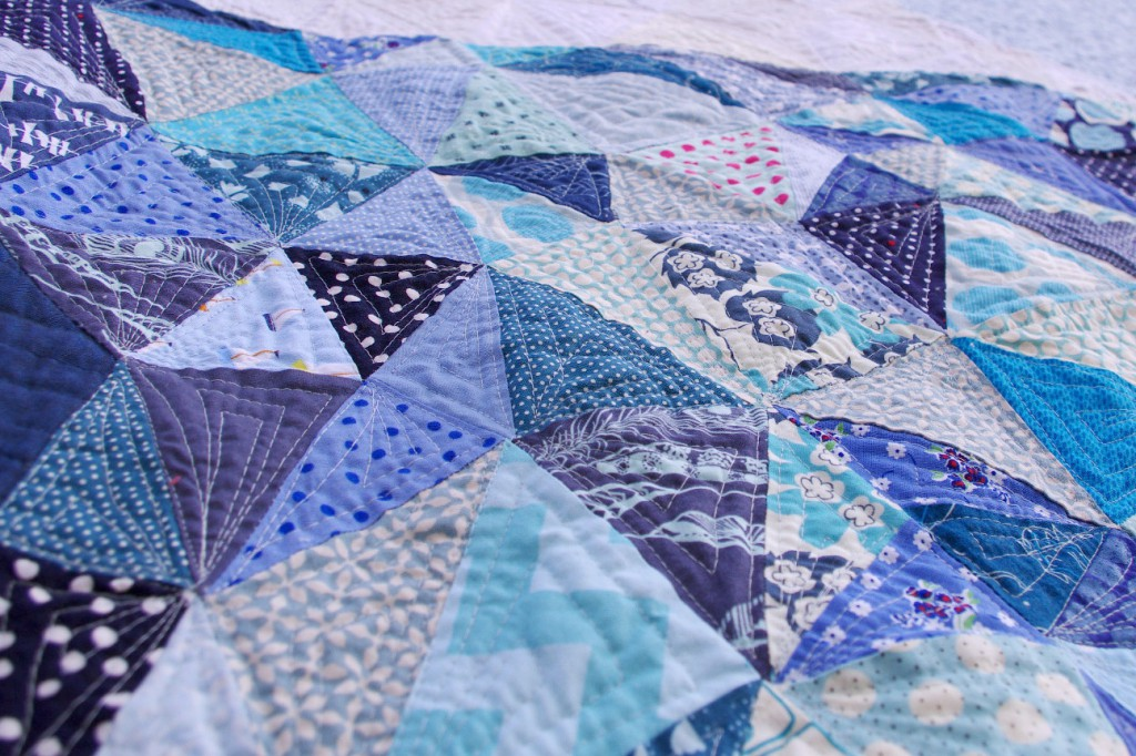 Close up of the piecing and quilting