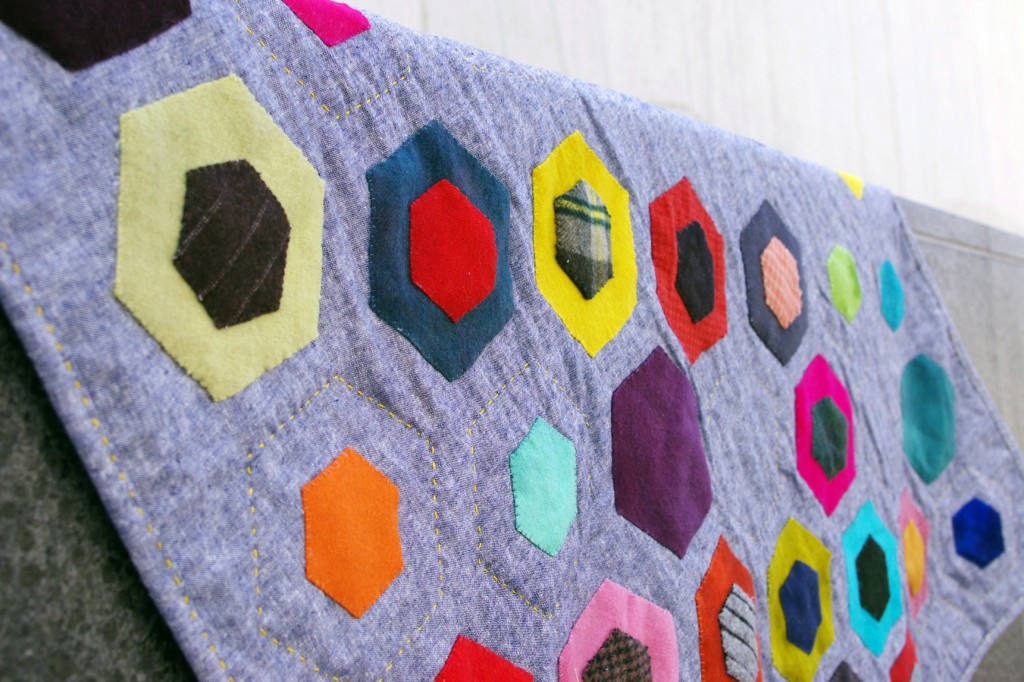 Close up detail of the wool hexagons