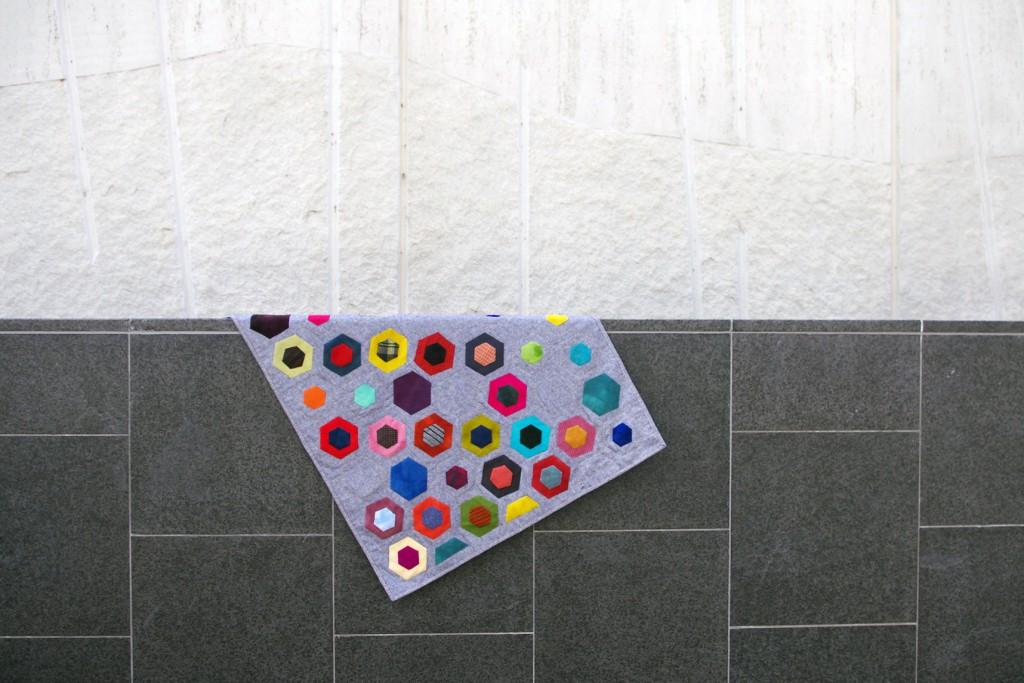 Modern Hexagons, wool on linen.