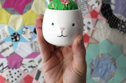 Egg cup pincushion tutorial