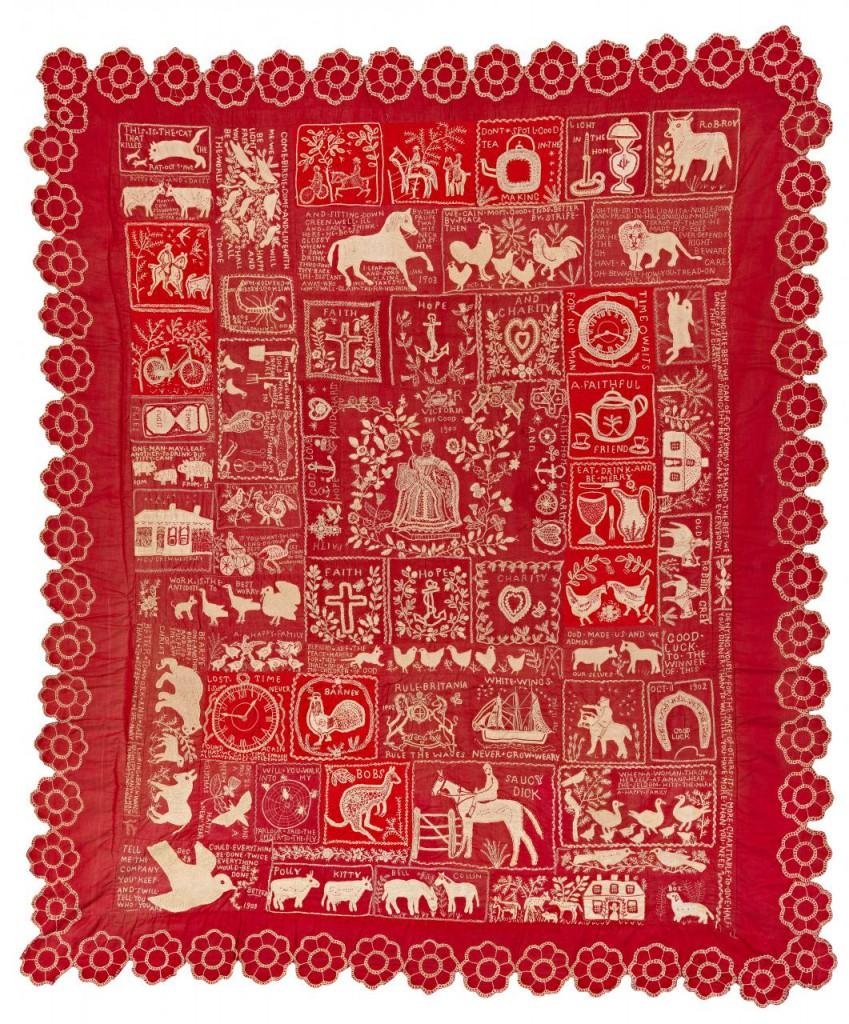 Misses Hampson - The Westbury quilt (Sampler quilt) c. 1900–03