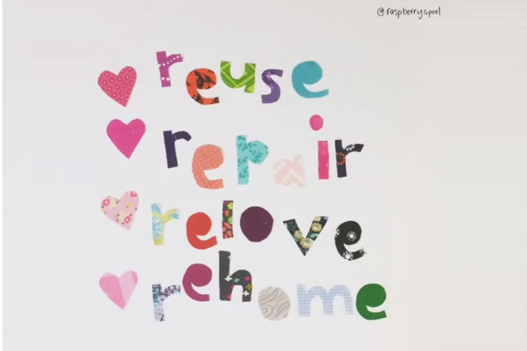 Image from video - reuse, repair, relove, rehome.